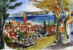 Miroslav Konrád, St. Tropez, akvarel 40x30 cm