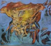 Miroslav Konrád, Evoluce krabů, olej 120x110 cm