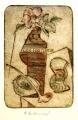Alena Antonová: Zátiší s růží a dýmkou, kolorovaná suchá jehla 12x17,5 cm, signováno, nerámováno, cena 1.800.- Kč