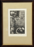 Jindra Čapek: Milenci, č. XXVII/XXX, 1985, litografie - rozměr výřezu v paspartě 12x19 cm, rozměr rámu 23,5x32 cm, signováno - cena 400 Kč