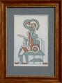 František Gross: Šaman, Litografie 17 x 25 cm, rámováno, Cena 2.900.- Kč
