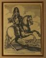Václav Hollar: Jezdecký portrét prince Jamese z Yorku, kol. r. 1640, mědirytina, opatřeno dobovým vodoznakem, G. Parthey v soupisu Hollarových děl grafiku uvádí pod č. 1474, rozměr rámu 44x53 cm Cena 18.000 Kč