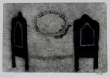 Postel, suchá jehla 24,5x37cm, rám 43,5x54,5 cm, signováno, 4.600 Kč