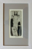 Vladimír Komárek, Biblické motivy soubor 3 ks suchá jehla 10x20 cm dřevěný rám cena 9.000,- Kč