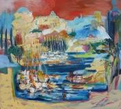 Vrboska – Hvar, 2017, olej na plátně 110x100 cm, rámováno lištou, signováno, PRODÁNO