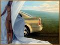 Jiří Mocek, Ona a auto, aneb Dokonalý design olej na plátně z r. 2004 72 x 55,5 cm signováno, nerámováno cena 21.000,- Kč