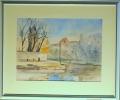 Ada Novák: Nábřeží Malše u Železné panny, 1964, akvarel, rozměr rámu 60x50, signováno Cena 2.200 Kč