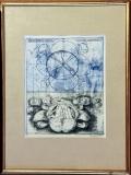 Dana Puchnarová: Obytné květiny, nečíslováno, 1967, suchá jehla/lept,-rozměr výřezu v paspartě 19,5x24,5 cm, rozměr rámu 31,3x41,3 cm, signováno - cena 1.000 Kč