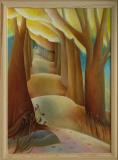 Alena Schelová: Podzimní alej, olej na plátně 50x70, cena 11.000.-