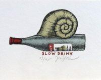 Slow Drink, 11,5x16, rám 23,5x32 cm       1.300.-