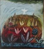 Hora olivetská, 1991, olej na plátně 46,5x41,5 cm, rámováno lištou, signováno,  cena 13.000.-