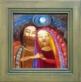 Ježíš a Maří Magdalena, překližka  29x29, rám 44x44 cm      15.600.-