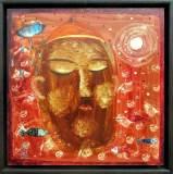 Rabín Rybín, překližka 30,5x30,5,  rám 34x34 cm                13.000.-