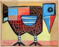 Pták, 2019, olej na překližce 33,5x33,5 cm, rámováno lištou, signováno, cena 3.900.- Kč