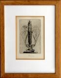 František Tichý: Lira s křídly, 1957, frontispice k Shekaspearovým Sonetům, suchá jehla 110x70 mm (Dvořák č. 204), signováno, rámováno, cena 6.800.- Kč