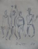 František Tichý: Čtyři cirkusáci, 1955, kresba tužkou 160x135 mm, signováno – dedikace J.T. (JUDr. Trunc), rám 267x318 mm, cena 19.000.- Kč