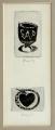 """František Tichý: Pohár a Srdce a had, 1953, soutisk dvou ilustrací k """"Havranu"""" (E. A. Poe), suché jehly 72x42mm, 40x55mm, (blíže Dvořák 231, 232), obě signovány, rámováno, cena 8.200.- Kč"""