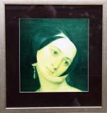 Božena Němcová, 1994, koláž 24x25,5 cm, rozměr rámu 37x45 cm, signováno na rubové straně, cena 12.000,- Kč
