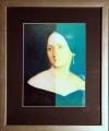 Jiří Kolář: Božena Němcová, 1994, koláž 18,5x25 cm, rozměr rámu 32,5x39,5 cm, signováno na rubové straně (viz detail), cena 12.000.- Kč