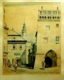 Anna Neumannová : Č. Krumlov, 1947, litografie 70/151, 31x25 cm, signováno, rám 57,5x47,5 cm. 1.200 Kč