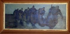 F. Pudil (?): Výlov rybníka, 1944 (?), olej na plátně 35x84 cm, signováno, rám 53x101 cm, 2.000 Kč