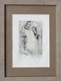 Dotyky, 1974, suchá jehla 7,5x11,2 cm, autorský tisk, rozměr rámu 20,3x26,7 cm, PRODÁNO