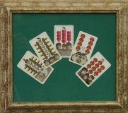 Karty, 1993, koláž na plátně a sololitu 29x34 cm, rozměr původního rámu 38x42 cm, signováno vzadu, PRODÁNO